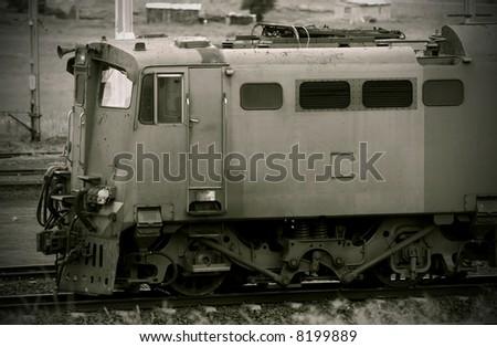 Sepia image of a train engine. (Enhanced Shadows)