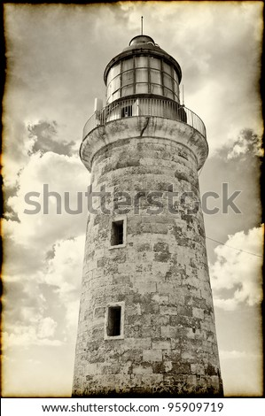 sepia image of the lighthouse tower in el Morro castle, Havana