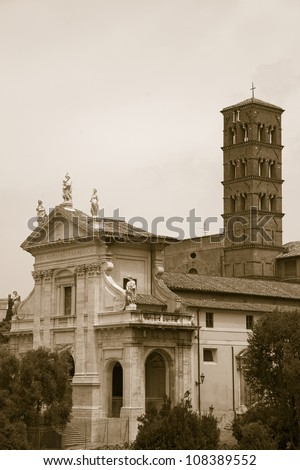 Sepia image of the Roman Forum, Rome, Italy