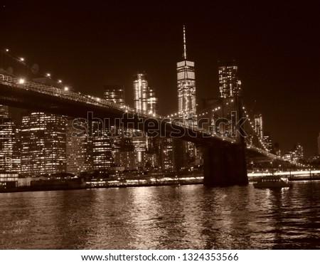 sepia nyc nightime skyline #1324353566