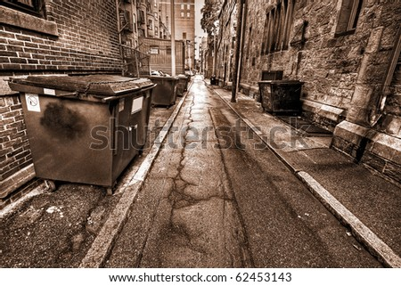 Sepia photo of one of the famous Boston alleys in Massachusetts, USA.