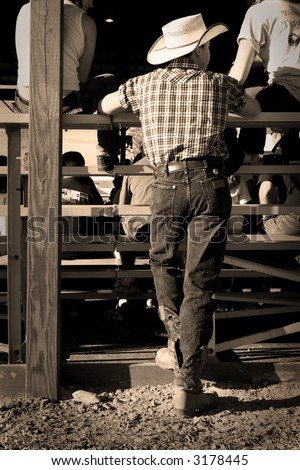 sepia tone western young man at a county fair