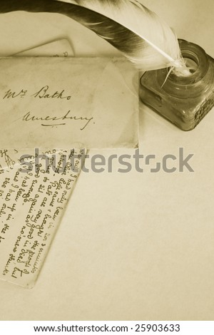 Sepia toned image of an ink pot with feathered quill and hand written letters (recreated by self). Portrait format.