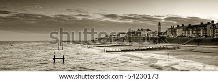Sepia toned panoramic view of southwold looking form the pier