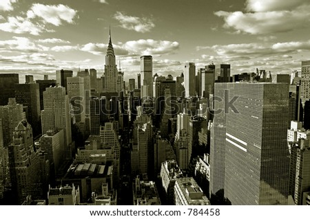 Sepia view of Manhattan from above