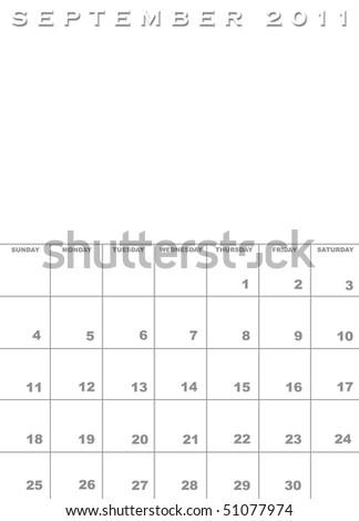 calendar september 2011. stock photo : September 2011