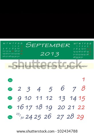 September 2013 Calendar in English