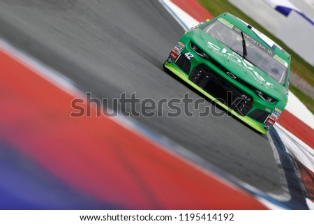 September 30, 2018 - Concord, North Carolina, USA: Kyle Larson (42) races to turn five during the Bank of America ROVAL 400 at Charlotte Motor Speedway in Concord, North Carolina. #1195414192