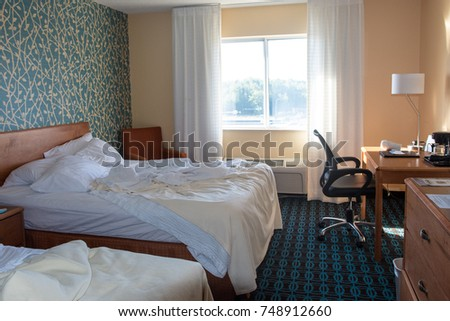 SEPTEMBER 19 2017   DULUTH, MN: Interior Of A Typical Marriott Hotel Room  With