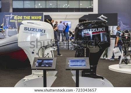 September 24, 2017 - Genoa (Italy) - Exhibition of marine engines for boats at the 57th Nautical Exhibition in Genoa - September 21-26, 2017 #723343657
