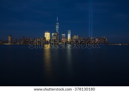 September 11, 2014 - Jersey City, NJ: New York City Skyline with the Tribute in Light to commemorate the anniversary of 9/11. #378130180