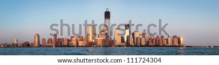 September 2012. Manhattan, downtown Liberty tower (World Trade center) construction. Shot over Hudson river panorama from Jersey city