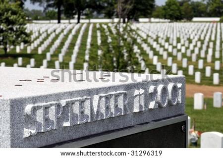 "September 11 memorial - ""the Pentagon Group Burial Marker"" - at the Arlington National Cemetery in Arlington, Virginia, near Washington DC"