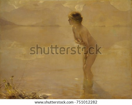 SEPTEMBER MORN, by Paul Chabas, 1912, French realist painting, oil on canvas. When exhibited in the New York in 1913, it was declared immoral by Anthony Comstock, leader of the New York Society for th