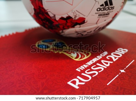 September 14, 2017. Moscow, Russia Official ball of the 2018 FIFA World Cup Adidas Krasava and a calendar with the symbols of the World Cup 2018