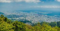 September 2018. Panorama view of Kobe town from mountain Maya and Rokko. View on sea port. Kobe.Japan.