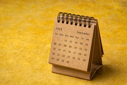 September 2020 - spiral desktop calendar on yellow handmade bark paper