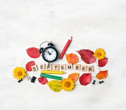 September time. stationery, pencil, clock alarm, flowers, autumn leaves. education, starting school, back to school Concept. 1 september, beginning of school year. flat lay.