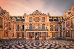 September 2018 - Versailles, France - Versailles Palace facade near Paris