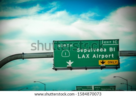 Sepulveda blvd and LAX airport road sign on the freeway in Los Angeles. California, USA stock photo