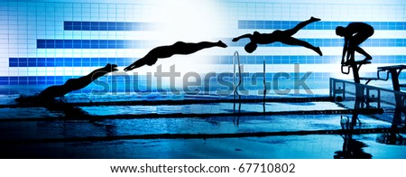 sequence black silhouettes of jumping swimmer from starting platform on swimming pool