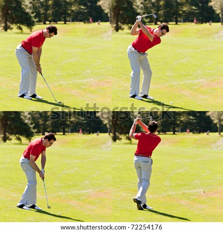 Sequence of a golfer hitting a fairway shot with a nice swing. One young white male golfer, red shirt and white pants, goes for the green on the fairway. Four frames square composition.