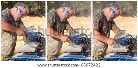 Sequence of a senior man cutting wood with a chop saw.