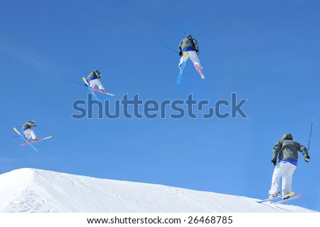sequence of a skier making a jump. In chronological order from left to right. Initially he crosses his skis and starts a turn. In the second pose he has half completed his turn - stock photo