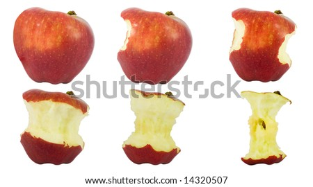 Sequence of an apple being eaten isolated on white background