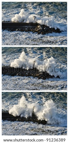 Sequence of shots of a powerful wave breaking against the lighthouse of Camogli, Italy