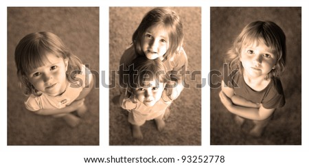 Sequence photographs of little girls looking up at camera