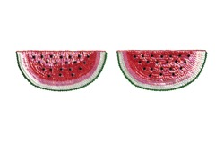 Sequined watermelon applique with various lighting.