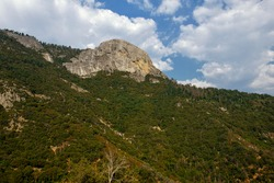 Sequoia National Park, California, USA: View of Moro Rock from underneath (famous granite dome formation that can be used as stairway to hike to the top). One of the most popular places in the Park.