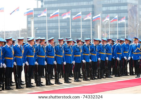 SERBIA, BELGRADE - MARCH 23, 2011: Members of the guard of honour of the Serbian army prepare for the welcoming ceremony for Russia's Prime Minister Vladimir Putin
