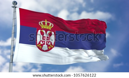 Serbia Flag in a Blue Sky #1057626122