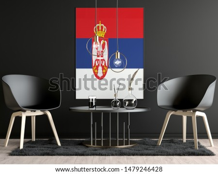 Serbia Flag in Room, Serbia Flag in Photo Frame #1479246428