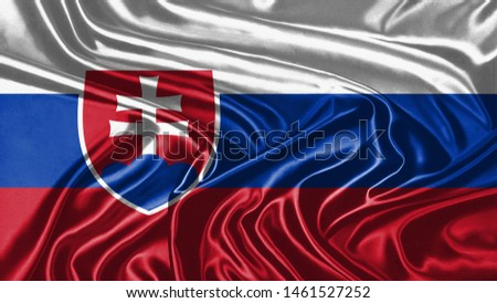 Serbia Flag of Silk, Flag of Serbia fabric texture background. #1461527252