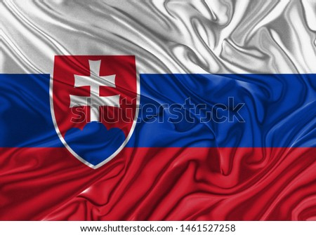 Serbia Flag of Silk, Flag of Serbia fabric texture background. #1461527258