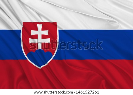 Serbia Flag of Silk, Flag of Serbia fabric texture background. #1461527261