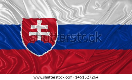 Serbia Flag of Silk, Flag of Serbia fabric texture background. #1461527264