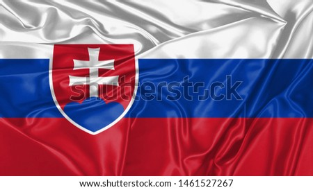 Serbia Flag of Silk, Flag of Serbia fabric texture background. #1461527267