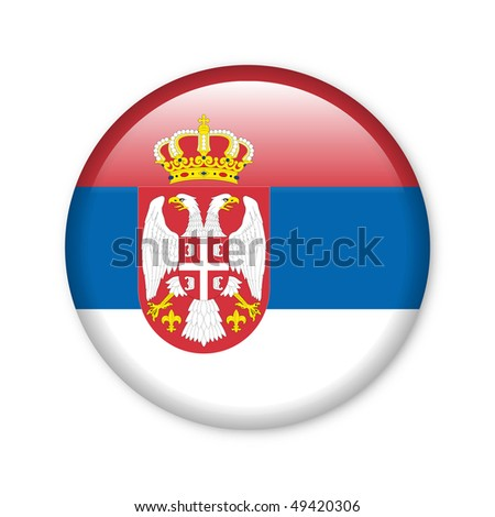 Serbia - glossy button with flag