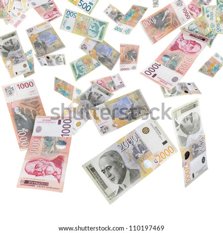 Serbian dinars falling from above isolated on white like rain