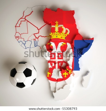 Serbian flag on map of Africa with national borders