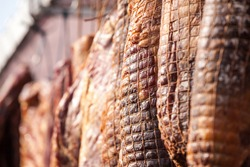 Serbian ham, called prsut, italian style, similar to prosciutto crudo, wrapped in a ham net hanging in the countryside of Serbia. Prosciutto is typical dry cured meat of pork produced in Italy, Spain