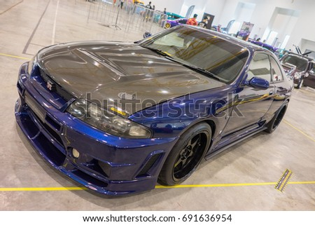 SERDANG, SELANGOR MALAYSIA - JULY 29,2017 : A Nissan Skyline GTR R33 on display during the Art Of Speed festival in Malaysia.