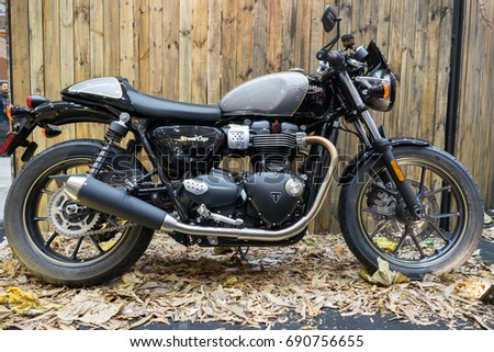 SERDANG, SELANGOR MALAYSIA - JULY 29,2017 : Triumph motorcycle on display during the Art Of Speed festival in Malaysia.