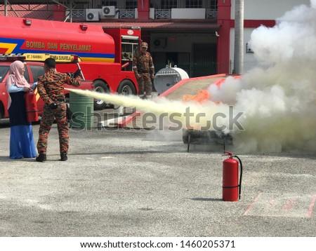 Seremban, Malaysia, July 18, 2019.Extinguishing exercises are held to the public. #1460205371