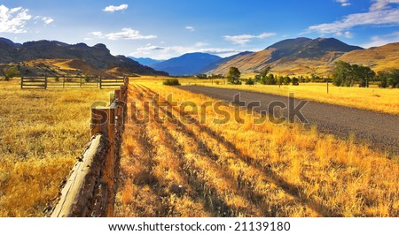 Serene autumn day on the American farm - stock photo