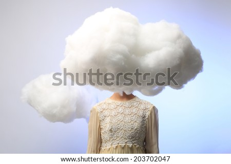 Serene Girl with Her Head in the Clouds